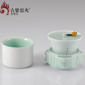古婺窑火  玉青瓷 四方如意盖碗 精致生活
