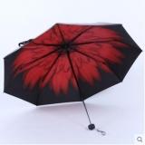 天堂伞 轻巧黑胶 防晒伞 三折小雨伞