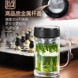 苏泊尔玻璃杯商用办公茶杯双层高硼硅加厚透明水杯隔热杯子420mlKC42CN1