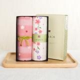 内野和风古系列樱花纱布面巾礼盒两条装纯棉吸水成人儿童洗脸毛巾